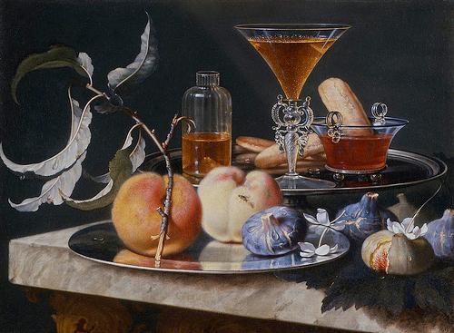 Christian Berentz (1658-1722), Cristalli con liquori, frutta e biscotti, olio su tela